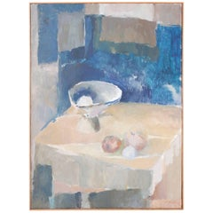 Mid-Century Modern Abstract Still Life Oil Painting on Canvas
