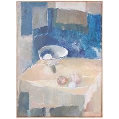 Mid-Century Modern Abstract Still Life Oil Painting on Canvas
