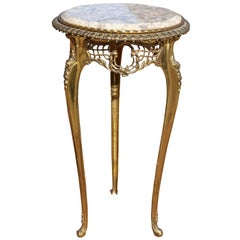 Louis XV Style Brass and Marble Pedestal Side Table