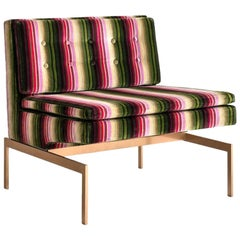 Mancini Chair with Silicon Bronze Base and Striped Velvet
