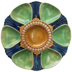 19th Century Victorian Majolica Oyster Plate Joseph Holdcroft
