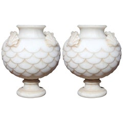 Pair of Classical Alabaster Carved Vases