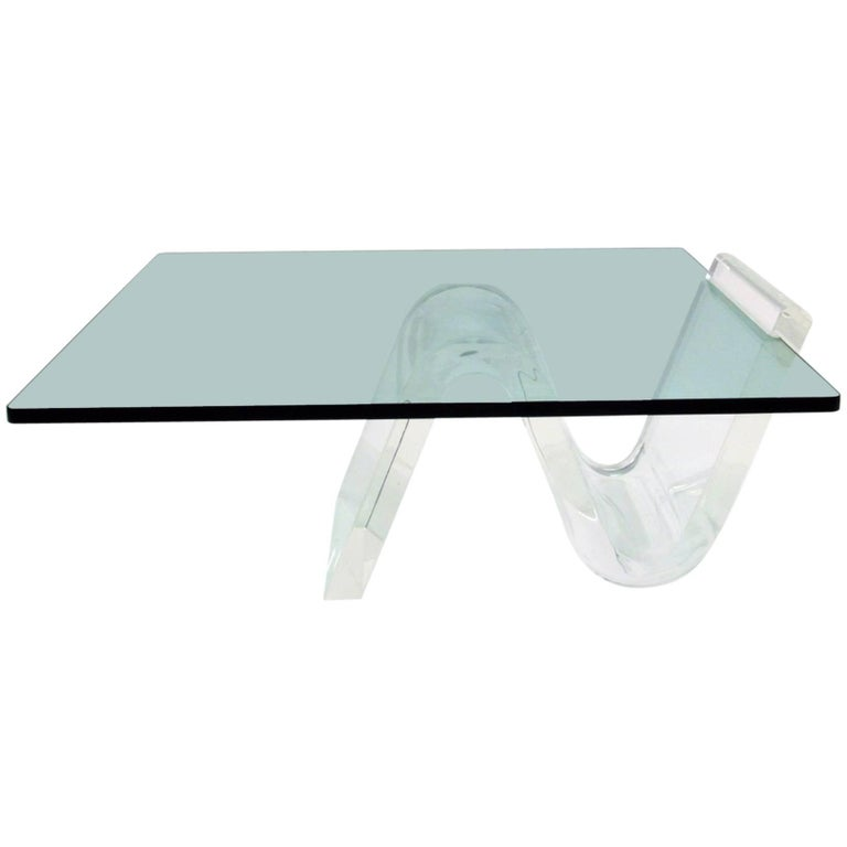 Cantilevered Lucite and Glass Coffee Table, circa 1980s