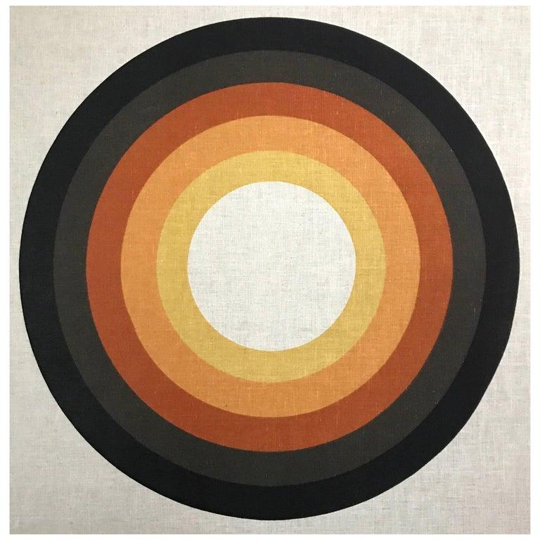 Large Graphic Verner Panton Silkscreen Fabric Panel, 1960s