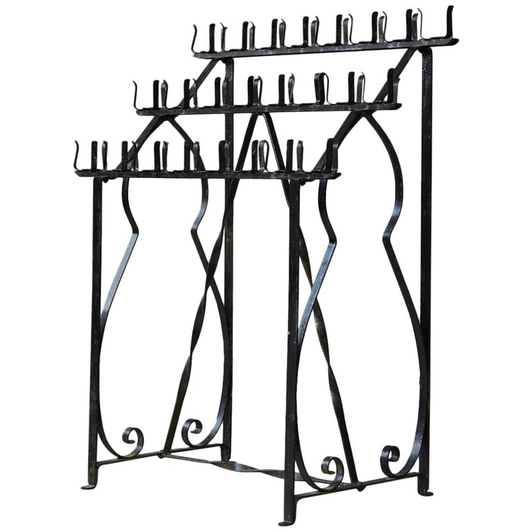 Black Wrought Iron Votive Candle Stand for 24 Candles For Sale