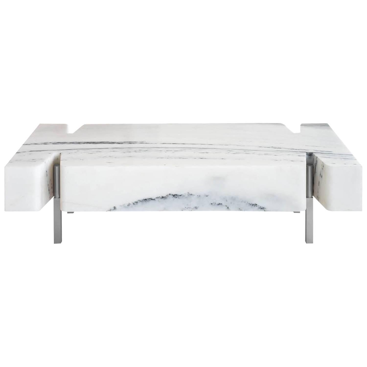 Terranova Coffee Table Or Cocktail Table With Hewn Marble Top And Nickel  Base