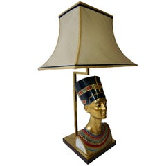 Egyptian Pharoh Queen Busts, Table Lamps by Edoardo Tasca