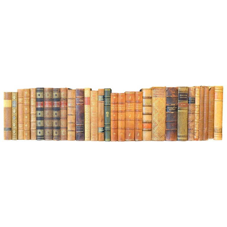 Meter of Early 20th Century Leather Bound Books, Series 21/22 For Sale