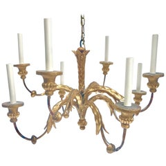 Fabulous 19th Century French Giltwood and Iron Eight-Light Chandelier