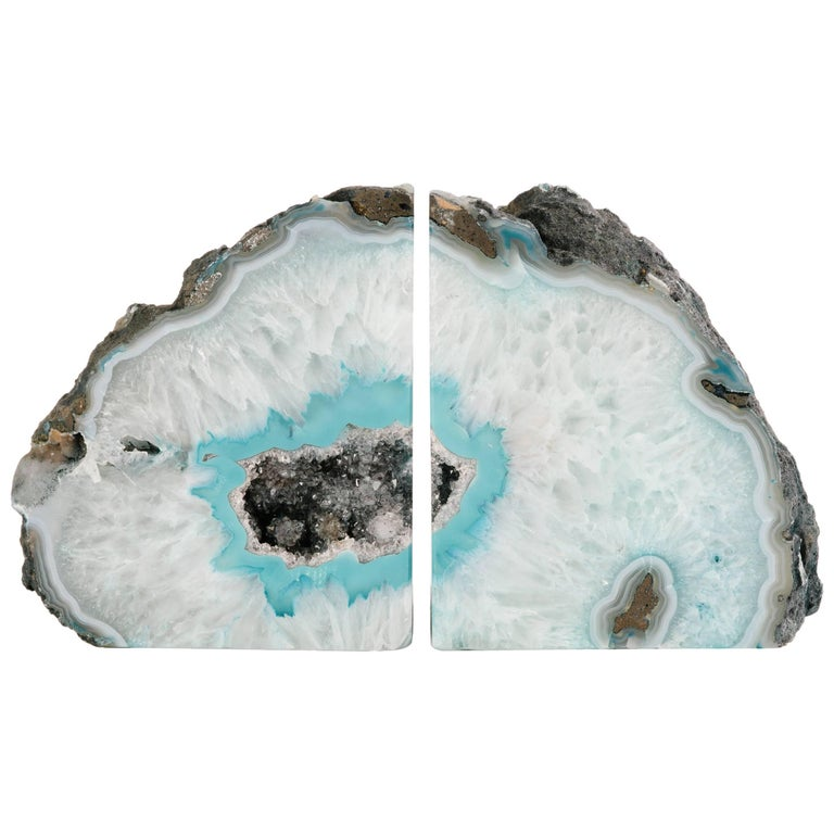 Pair of Organic Quartz Crystal and Turquoise Agate Bookends 1