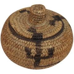 Pima Indian Miniature Hand-Woven Lided Basket
