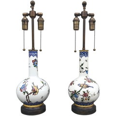 Chic Pair of Late 19th Century French Gien Porcelain Table Lamps