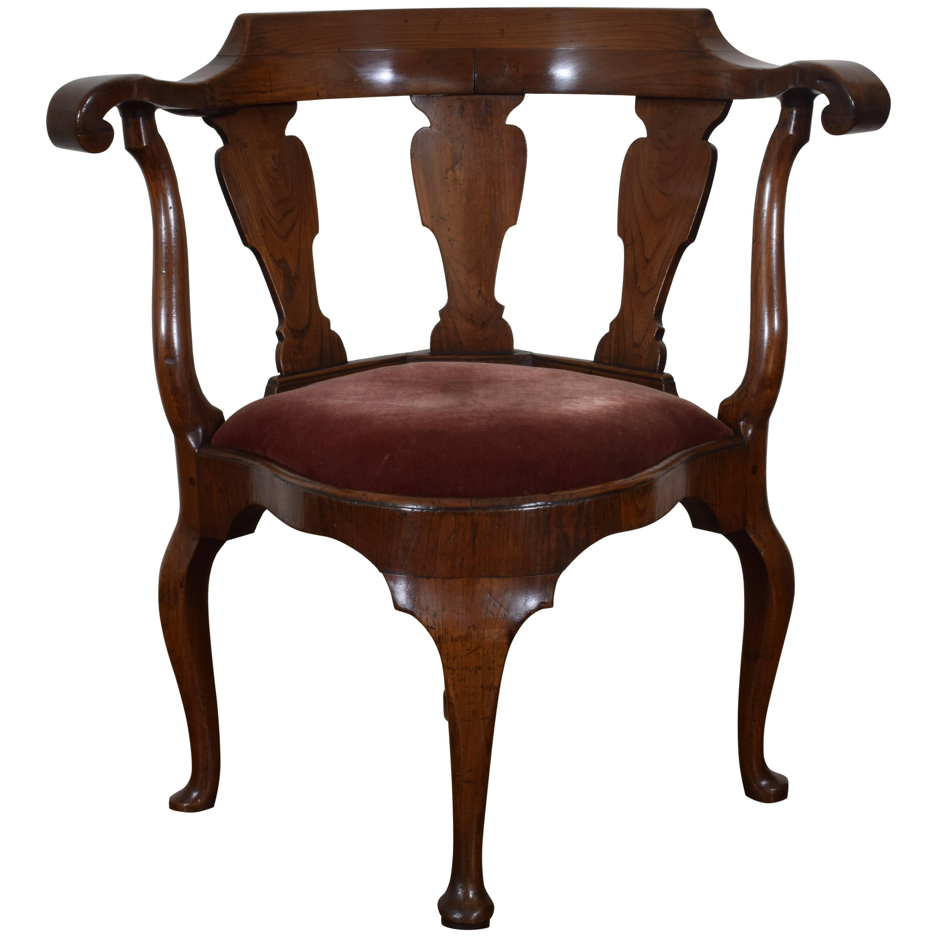 Dutch Yew Wood Corner Chair From The Queen Anne Period, 18th Century For  Sale
