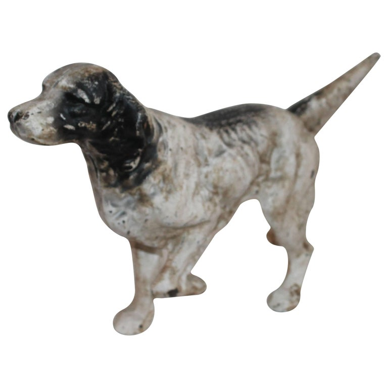 Early 20th Century Iron Hubley Dog Door Stop For Sale