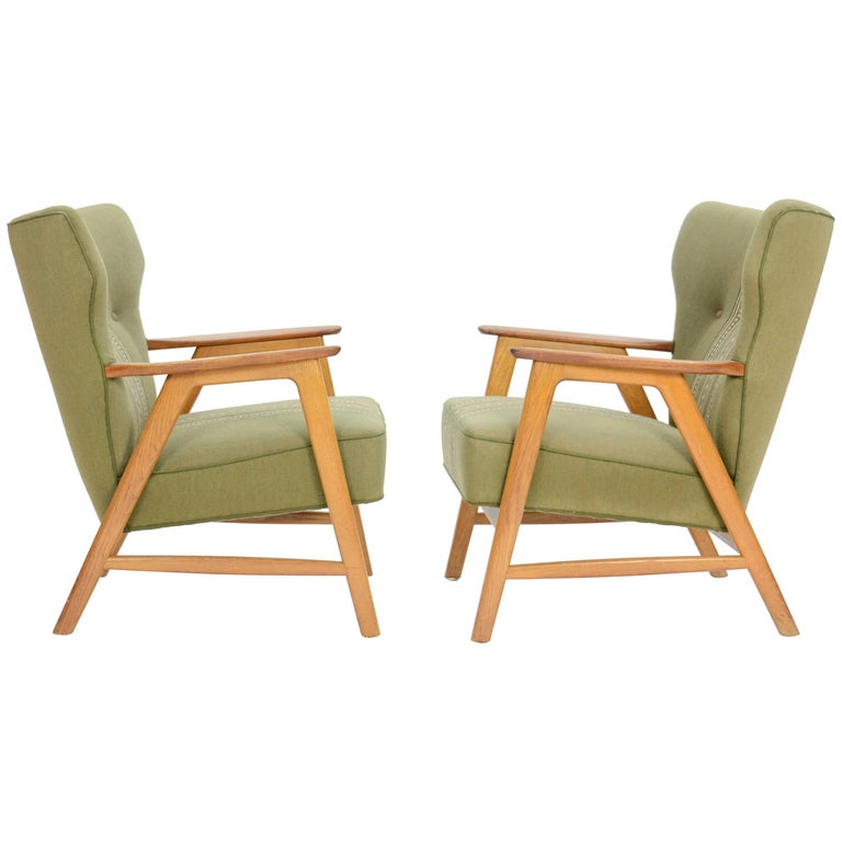 Pair of Kurt Olsen 3/5 Wingback Club Chairs in Teak 1