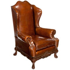 Quality Walnut Leather Upholstered Wing Chair