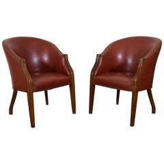French Directoire Style Pair of Bucket Chairs