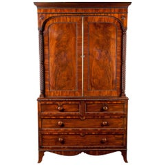 Superb William IV  Mahogany Linen Press