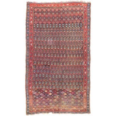 Distressed Antique Persian Kurd Rug with Adirondack Lodge Style