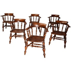 Set of Six Mid-19th Century Nicely Figured Elm Smokers Bow Windsor Chairs