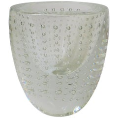 Designer Signed Clear Studio Art Glass Vase