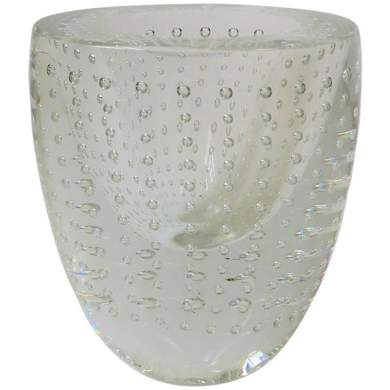 Designer Signed Clear Studio Art Glass Vase