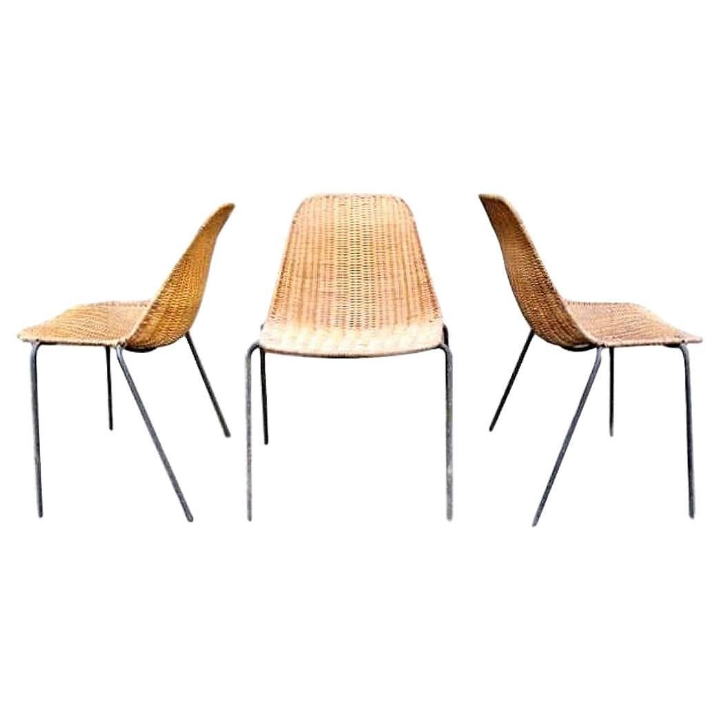 Italian Wicker and Iron Chairs by Campo and Graffi