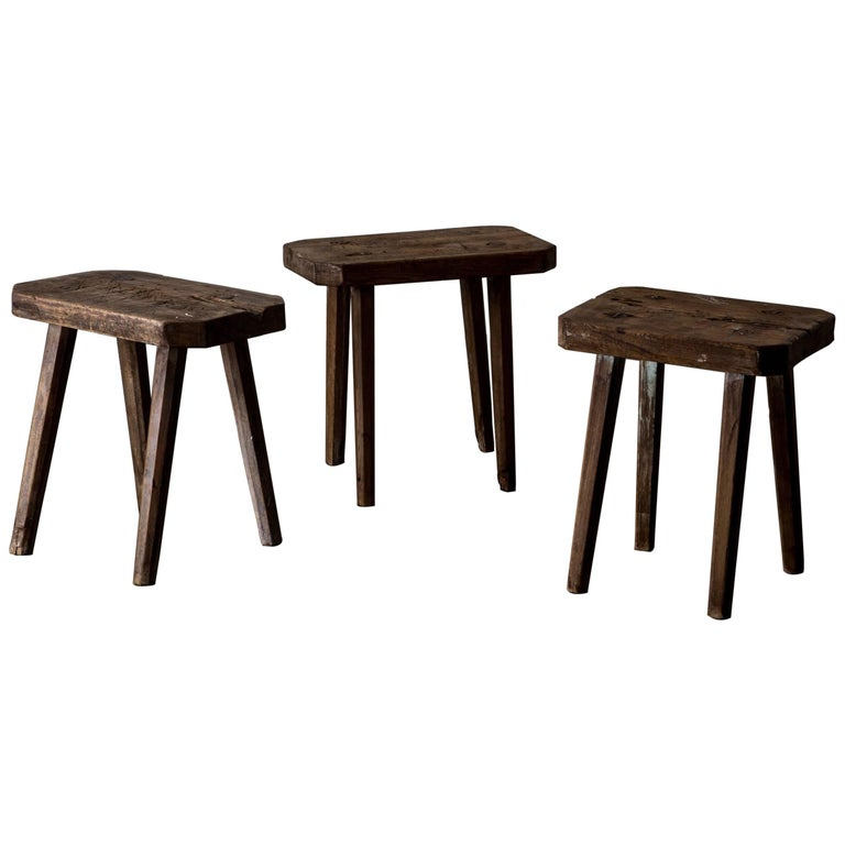 Stools Benches Rustic Wood Swedish 19th Century, Sweden
