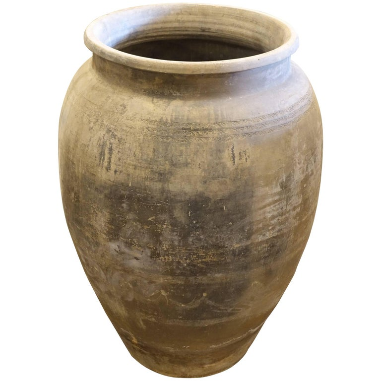Extra Large Weathered Terra Cotta Urn, China, 1940s For Sale