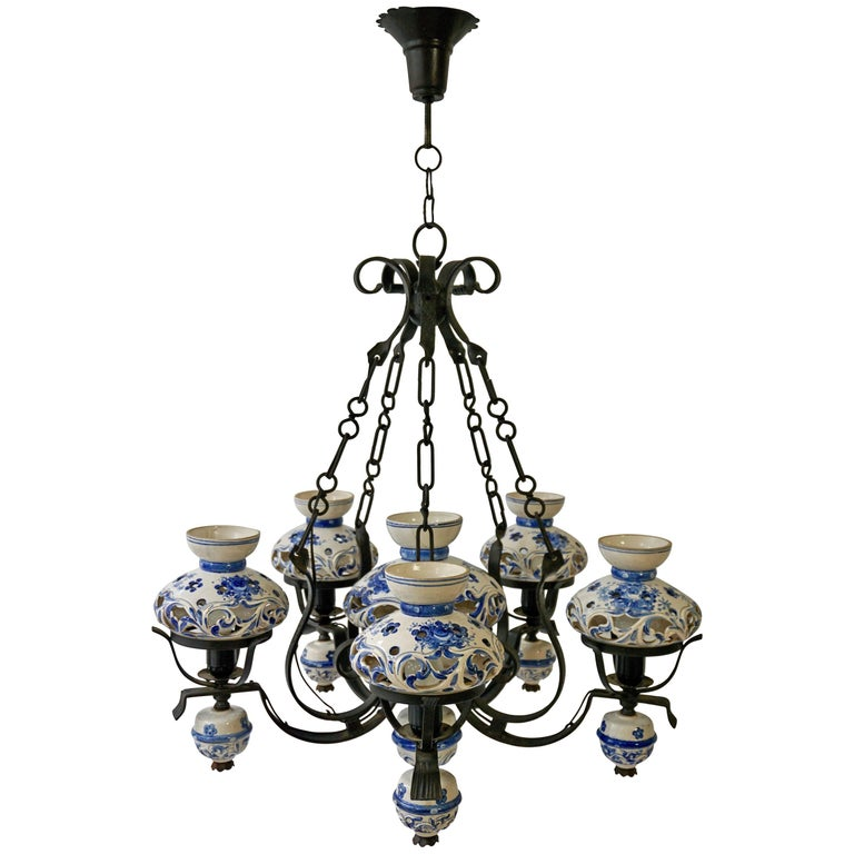 Unique and Beautiful Antique Delft Blue Oil Lamp Chandelier For Sale