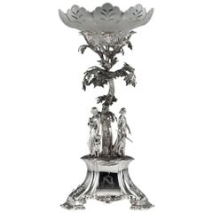 Antique 19th Century Victorian Solid Silver Figural Centrepiece, London
