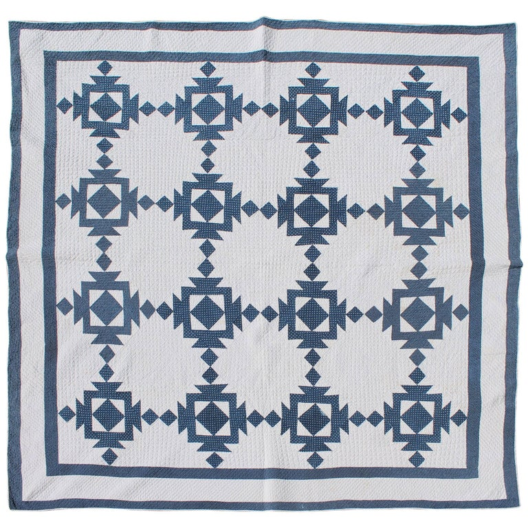 Quilt, 19th Century Blue and White Geometric For Sale