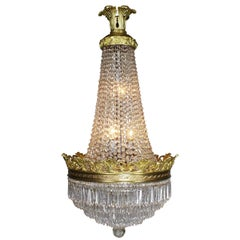 French Early 20th Century Louis XVI Style Gilt-Bronze and Cut-Glass Chandelier