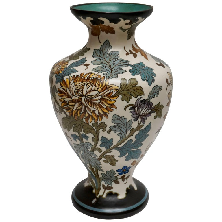 Gouda 1950s Hand-Painted Large Vase For Sale