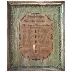 Antique Danish Folk Art Wedding Greeting Declaration in Original Frame, 1864