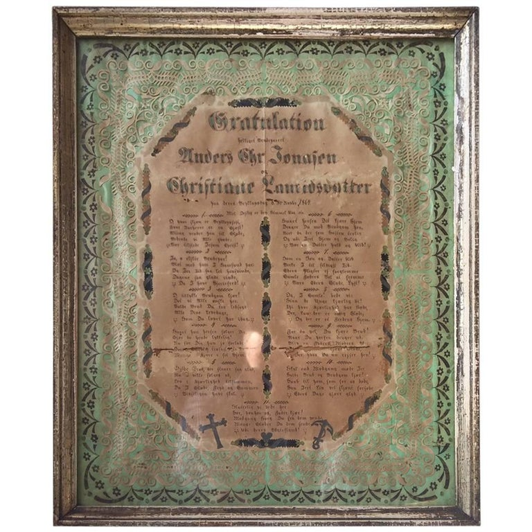 Antique Danish Folk Art Wedding Greeting Declaration in Original Frame, 1864 For Sale