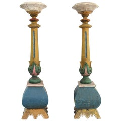 Pair of 19th Century American Polychrome Paint Decorated Candle Pillars