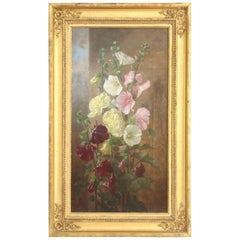 "19th Century Oil on Canvas Titled ""Flowers in a Window"" by Anna Eliza Hardy"