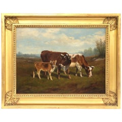 Arthur Fitzwilliam Tait, Cows in a Landscape, Oil on Canvas