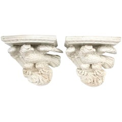 Pair of 19th Century Porcelain Eagle Form Wall Brackets