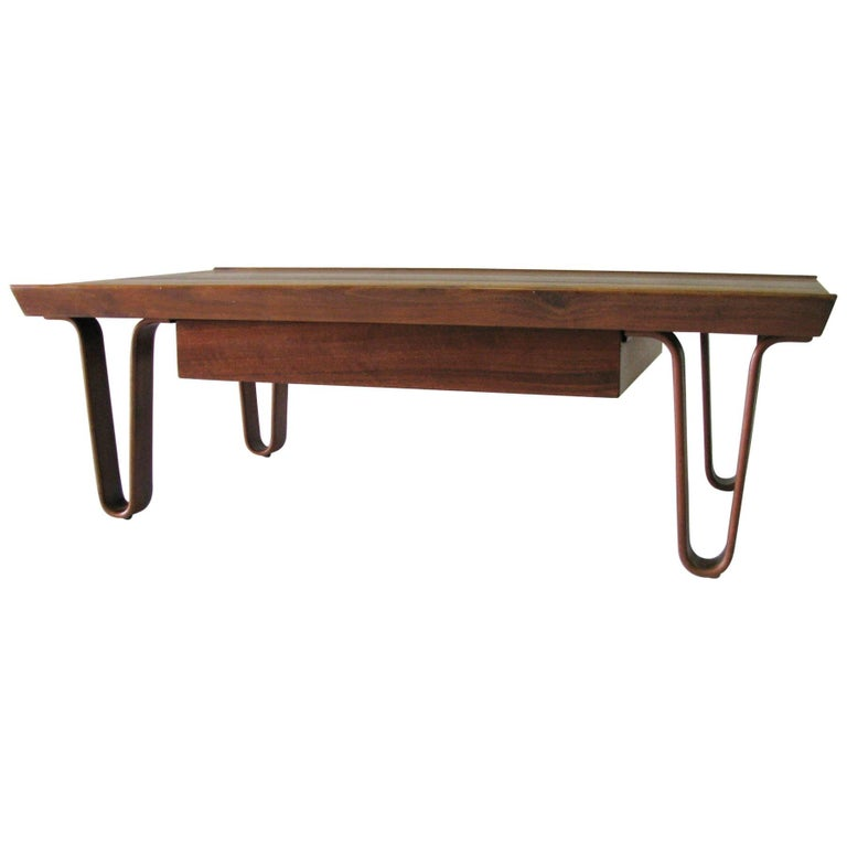 Ed wormley for dunbar small size long john coffee table for Small long coffee table