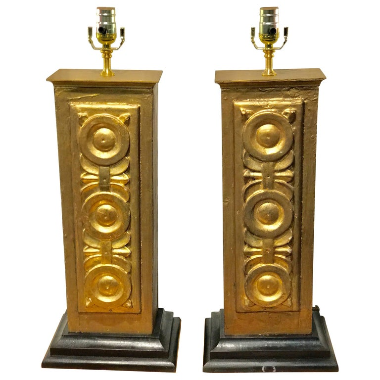 Pair of 18th Century Italian Giltwood Column Fragments, Now as Lamps