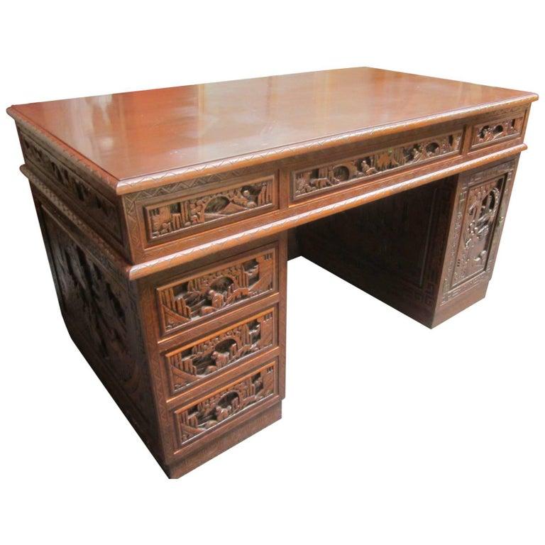 carved wood chinese desk for sale at 1stdibs. Black Bedroom Furniture Sets. Home Design Ideas