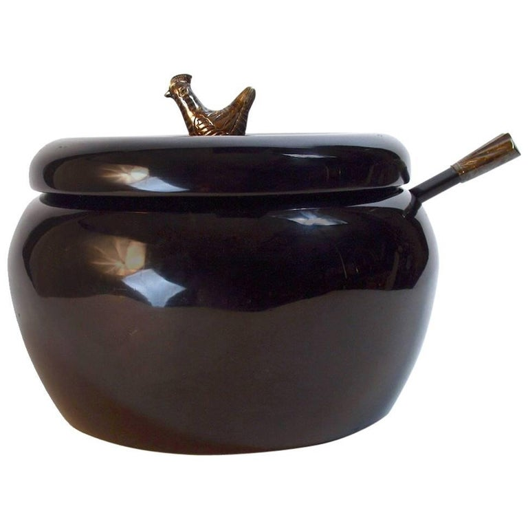 Lacquered Serving Bowl with Bird Finial For Sale
