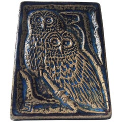 Danish Midcentury Stoneware Wall Plaque with Owls by Sven Aage Jensen, Soholm