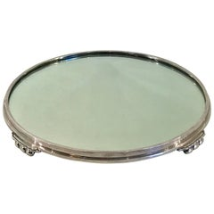 Silver Plated Art Deco Round Mirrored Plateau, by International Silver Co