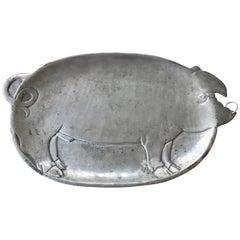 Antique French Pewter Pig Motif Platter