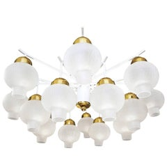 Large Sixteen-Light Flush Mount Onion Glass Chandelier, 1960s