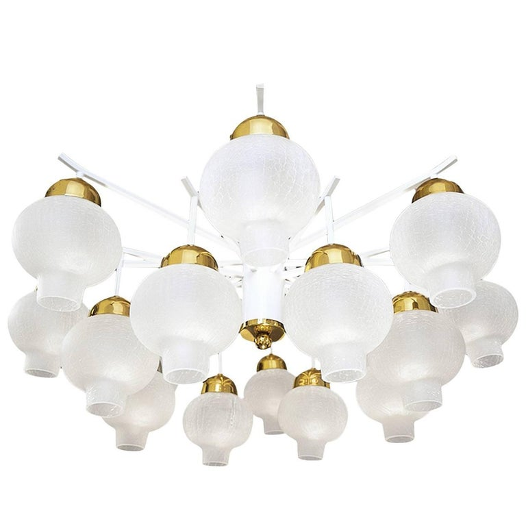 Large Sixteen-Light Flush Mount Onion Glass Chandelier, 1960s