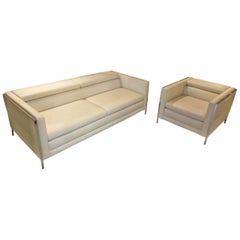 """Sofa-Set """"Liberty"""" by Manufacturer Frommholz in Leather and Chromed Metal"""